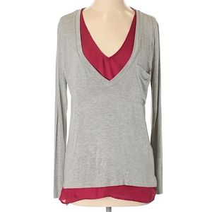 Anthro Bordeaux layered gray oversized tunic XS
